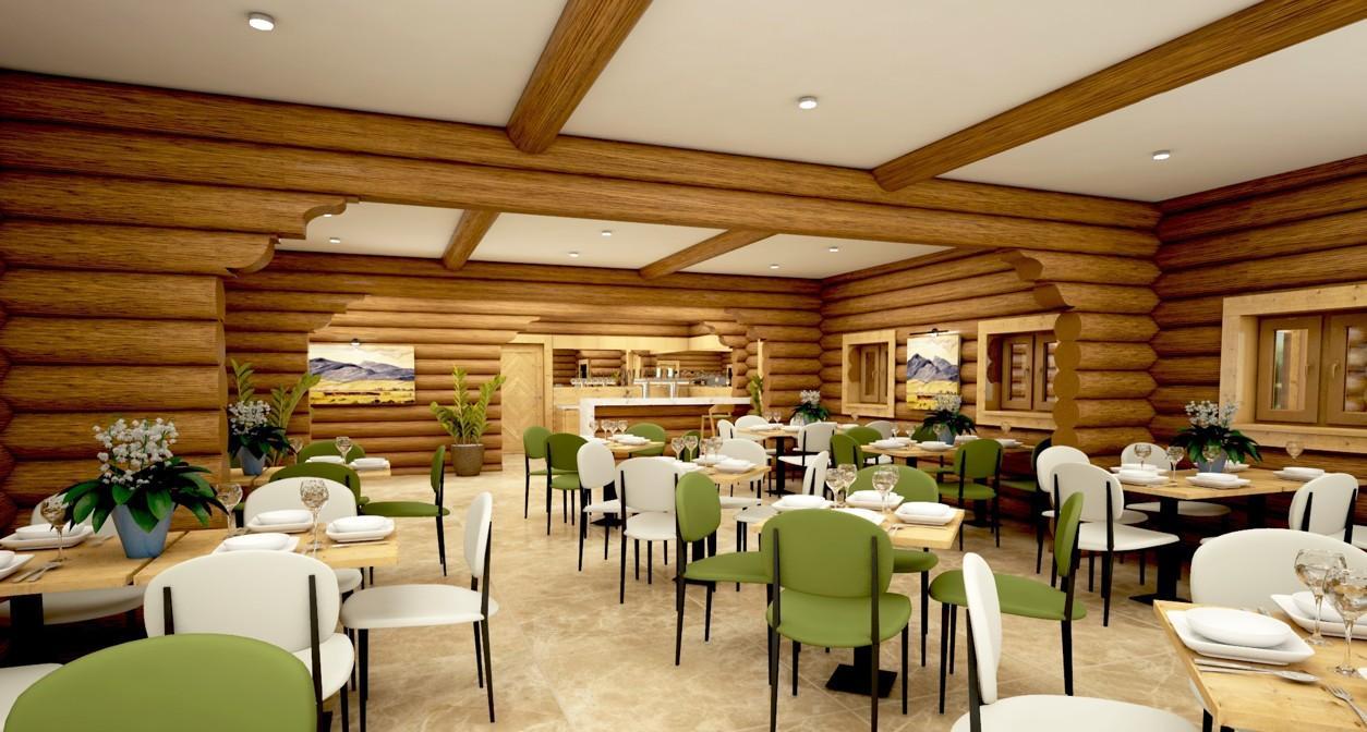 Koliba Liptov - gastronómia v rezorte Gothal - vizualizácia reštaurácie