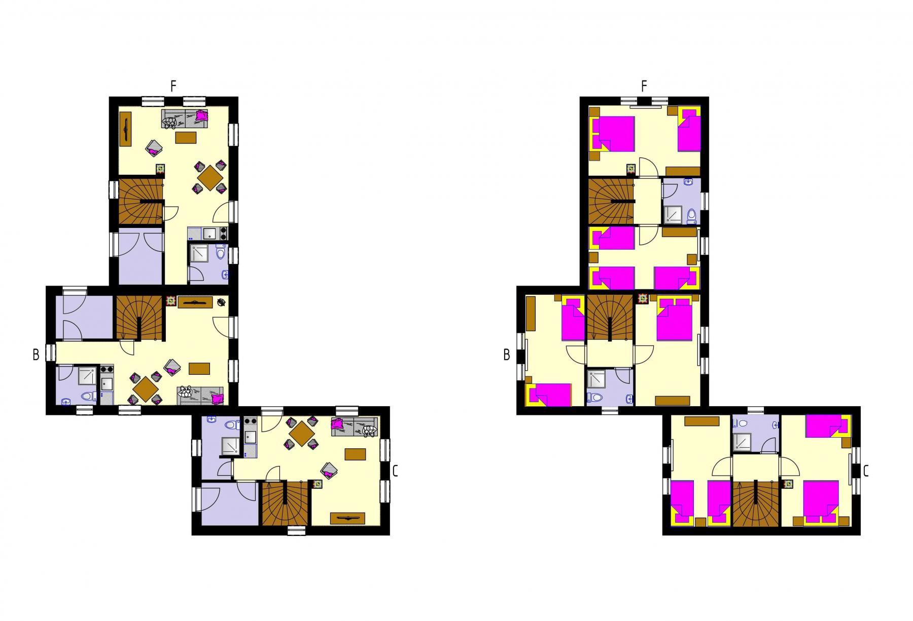 Gothal - ubytovanie v Nízkych Tatrách - pôdorys chalupy typu C