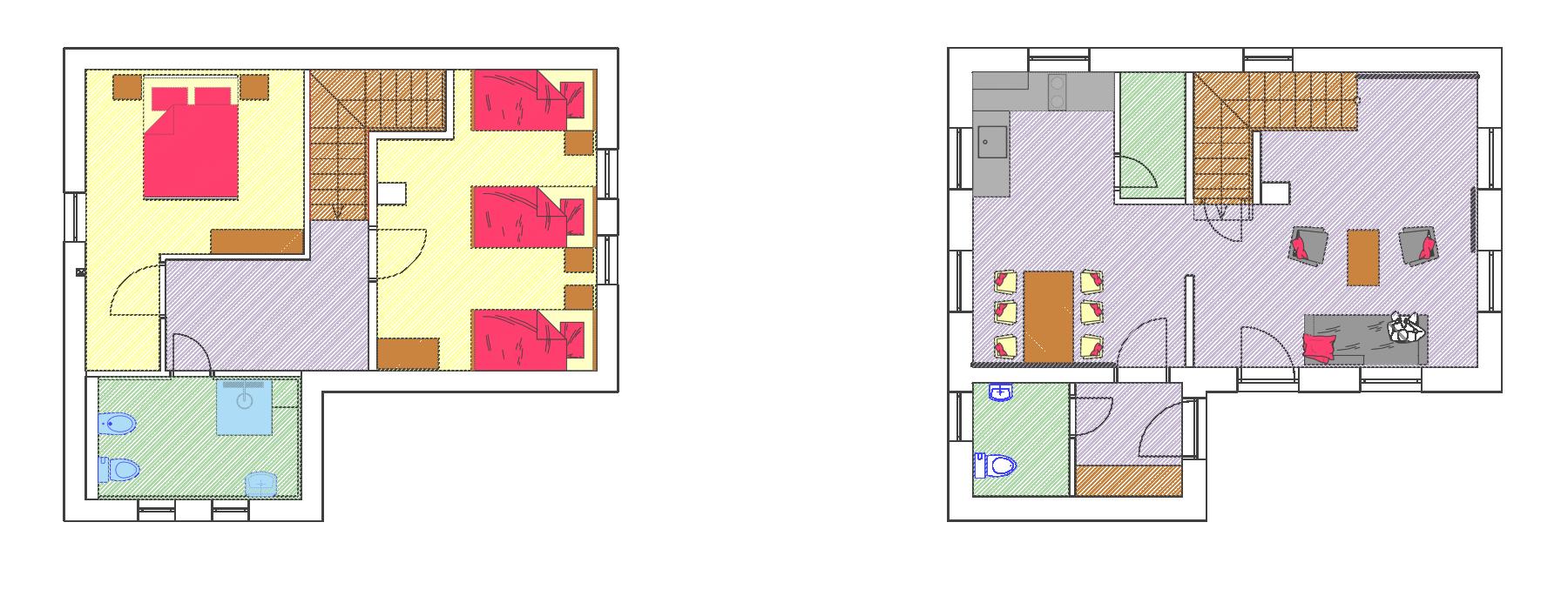 Gothal - ubytovanie Donovaly - pôdorys chalupy typu D