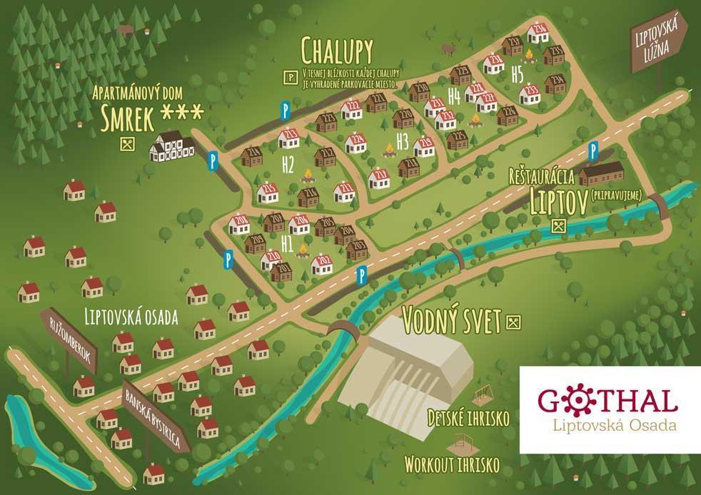 Mapa rezoru Gothal Liptovska Osada so zobrazenim ubytovania, stravovania a welness