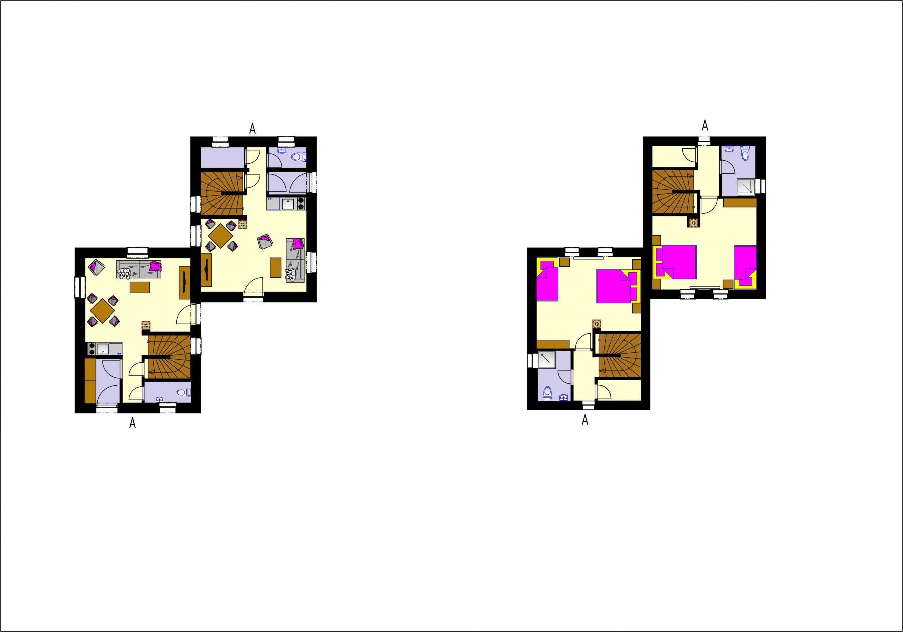 Gothal - ubytovanie na Liptove - pôdorys chalupy typu A - dvojdom