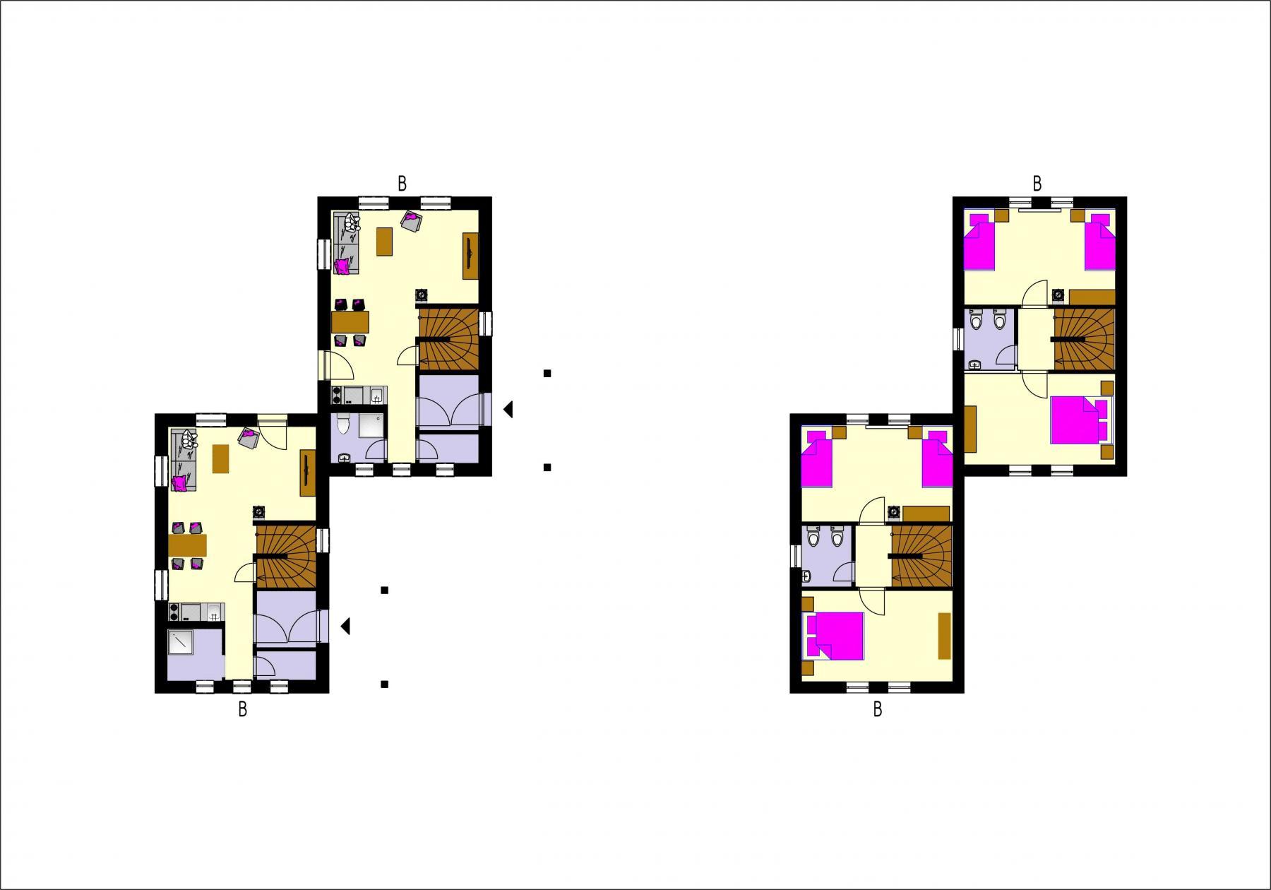 Gothal - ubytovanie na Liptove - pôdorys chalupy typu B - dvojdom
